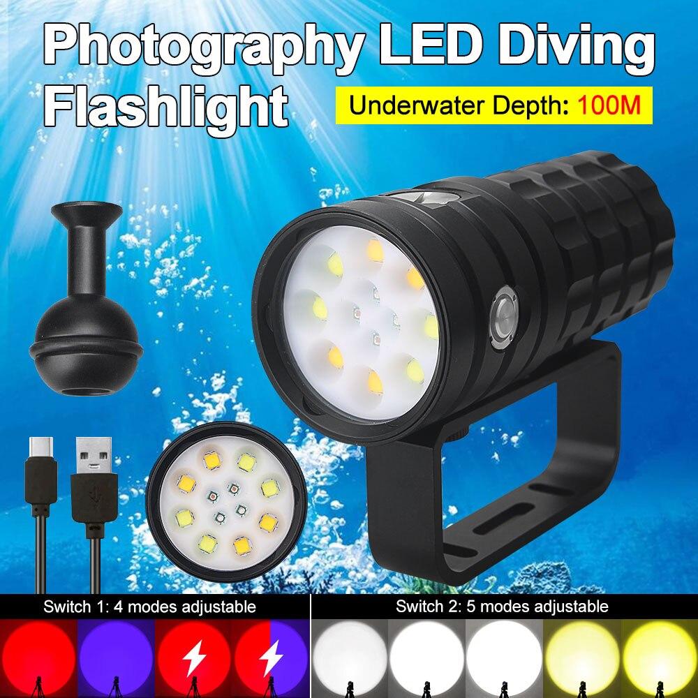 lanterna led para mergulho 25000 lumens 8 xhp50 100m ipx8 subaquatica a prova dagua