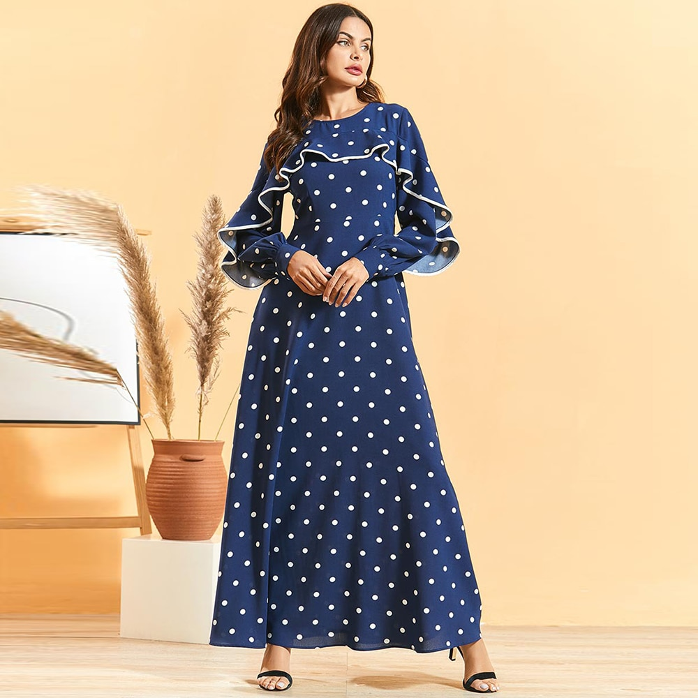Siskakia Blue Polka Dot Ruffled Maxi Dress Elegant Fashion Plus Size Slim Waist A Line Dresses Spring 2020 Long Sleeve O Neck