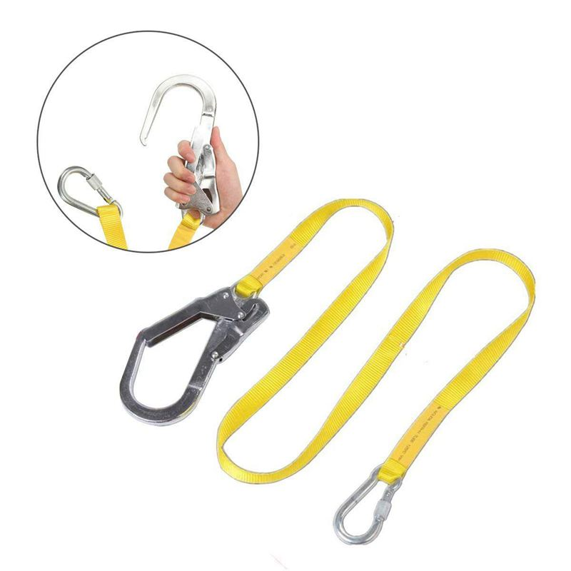 ABUO-Safety Lanyard, Outdoor Climbing Harness Belt Lanyard Fall Protection Rope With Large Snap Hooks, Carabineer