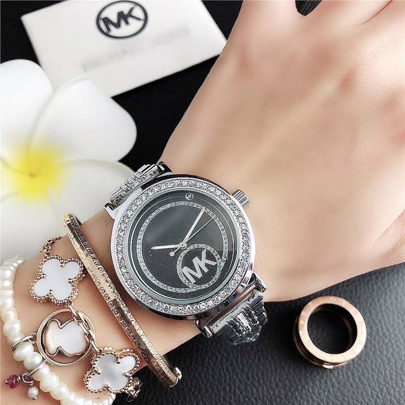 YUNAO Jewelry INS Wind Alloy Steel Band Unisex Quartz Watch New Small Circle Rhinestone Dial Watch Casual Business Watch enlarge