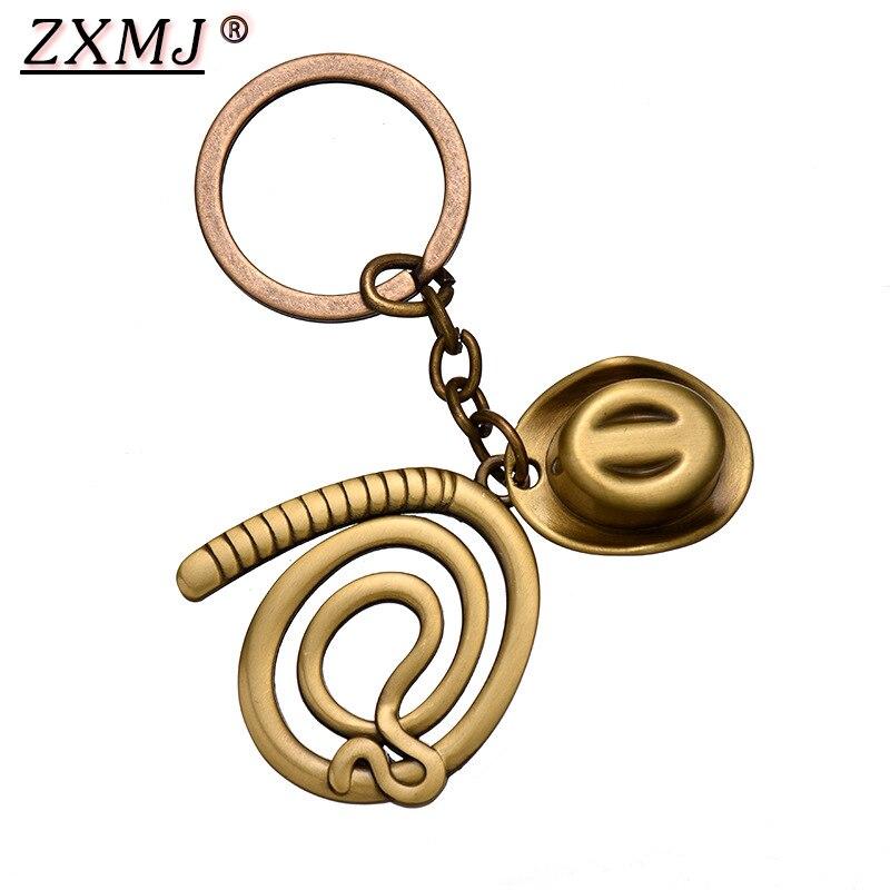 ZXMJ, брелок для ключей от Индианы Джонса, шляпа и хлыст, Лидер продаж, фильм рейдеров из Lost Ark, ковбойский брелок, chaviro, ювелирное изделие для фанатов