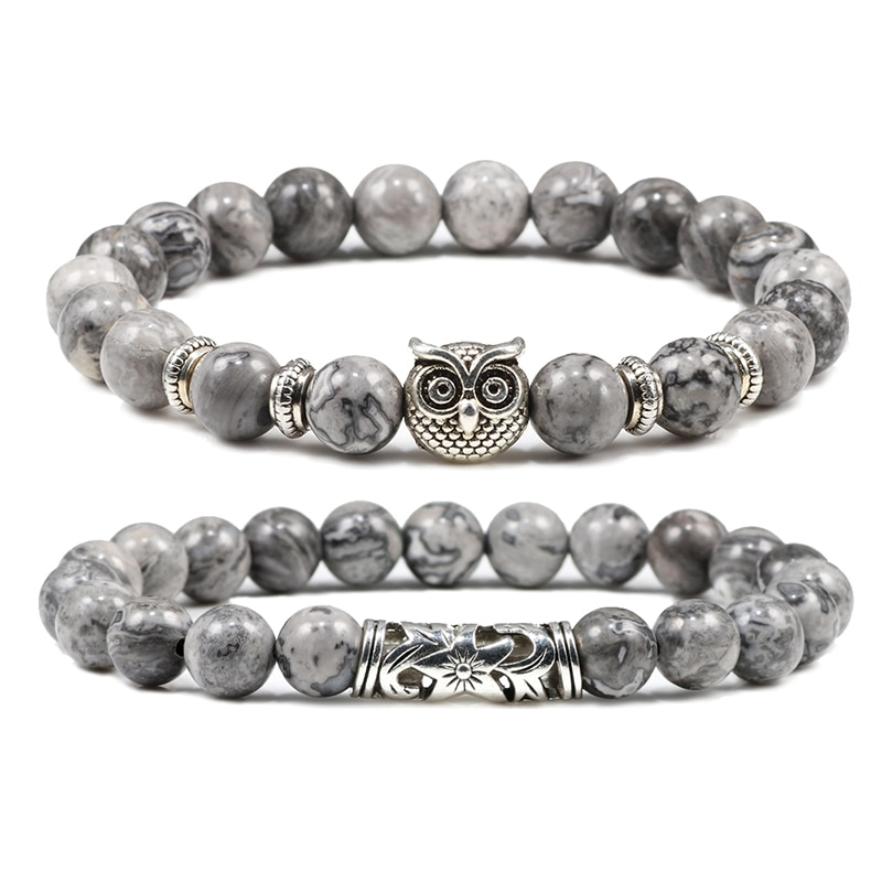 Natural Stone Tiger Eye Men Bracelet Charm Owl Weathered Stone Couple Distance Beads Bracelet Buddha Prayer Jewelry Gift