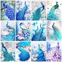 Kits de peinture de diamant 5D avec perceuse AB  broderie complete de strass  paon  animaux  images  decor de maison  Art