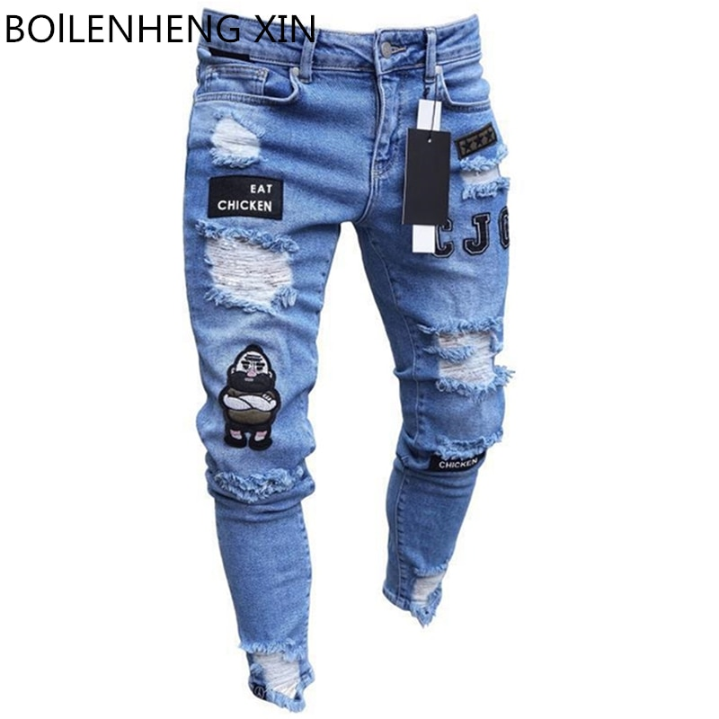 Men's Broken Hole Embroidered Pencil jeans Slim Men Trousers Casual Thin  Denim Pants Classic Cowboys Young Man Jogging Pants