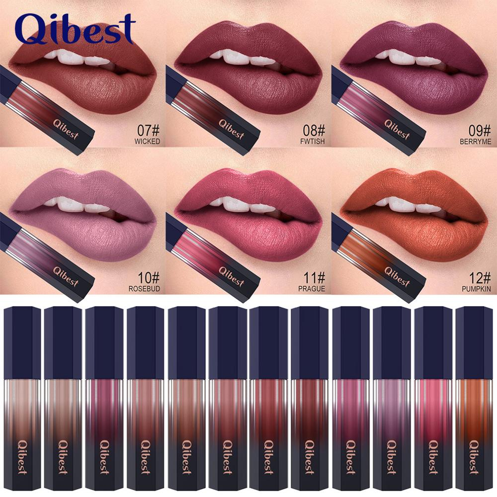 Qibest 12 colores lápiz labial líquido maquillaje impermeable Mate de larga duración maquillaje desnudo brillo de labios rojo rosa Ultra lápices labiales Mate