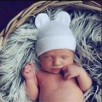 new adorable baby cotton striped knit hats newborn toddler kids boys girls unisex hat lovely rabbit ear hats 0 6 months