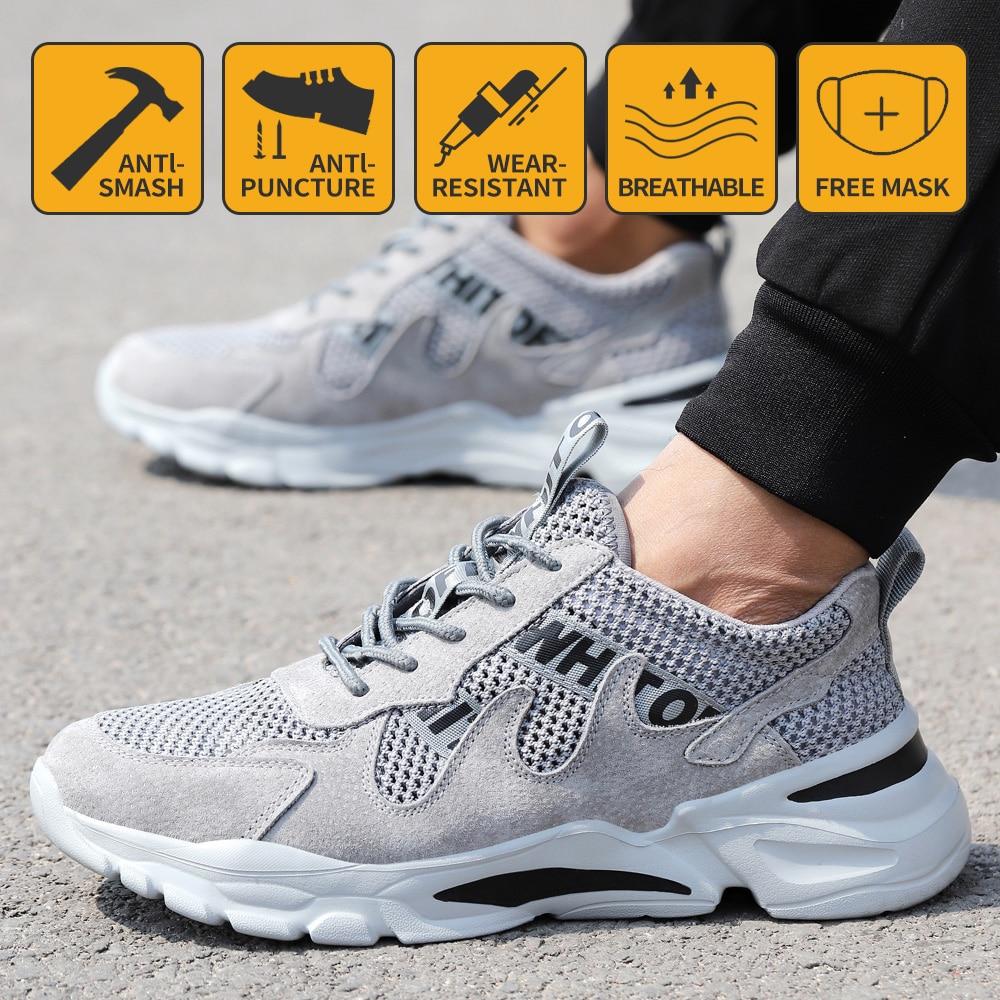 حذاء امن للعمل الرجال خفيفة الوزن تنفس لينة مريحة الصلب تو أحذية عمل مكافحة تحطيم ثقب برهان يمكن ارتداؤها