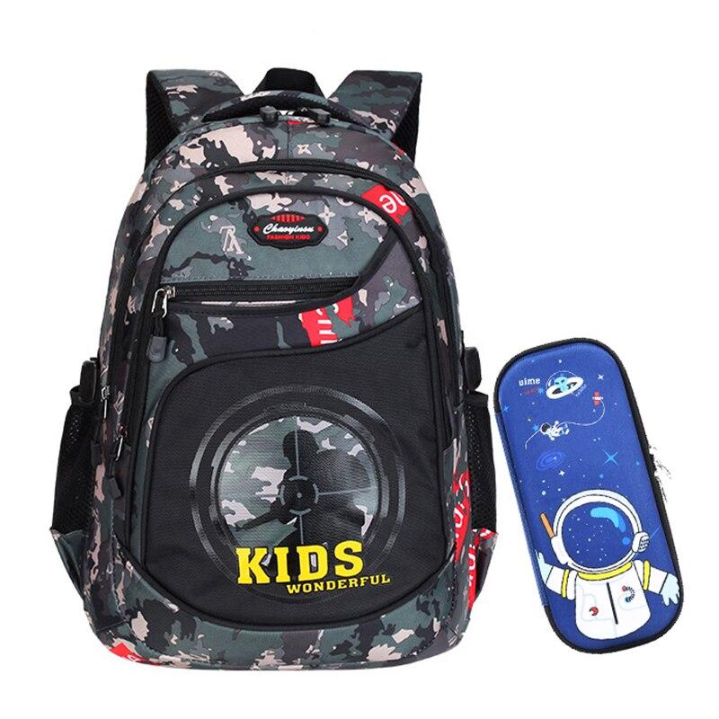 Children School Bags For Teenage Boys Anime Backpack Kids Camouflage Bagpack Waterproof Book Bag Pen