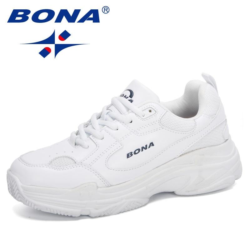 بونا 2020 المصممين الجدد أحذية رياضية بيضاء للنساء أحذية مسطحة أحذية فلكنيز أحذية نسائية غير رسمية زاباتيلاس موخير منصة أوروبية المقاسات