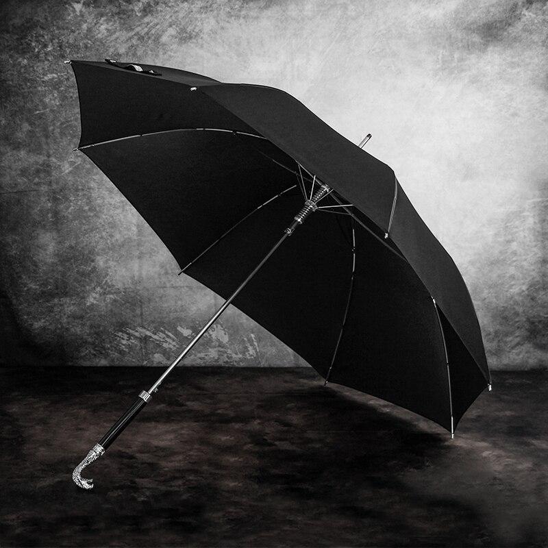 Windproof Luxury Rain Umbrella Men Long Handle Lion Tiger Head Creative Retro Chinese Animal Umbrella Business Gift Box U5B enlarge