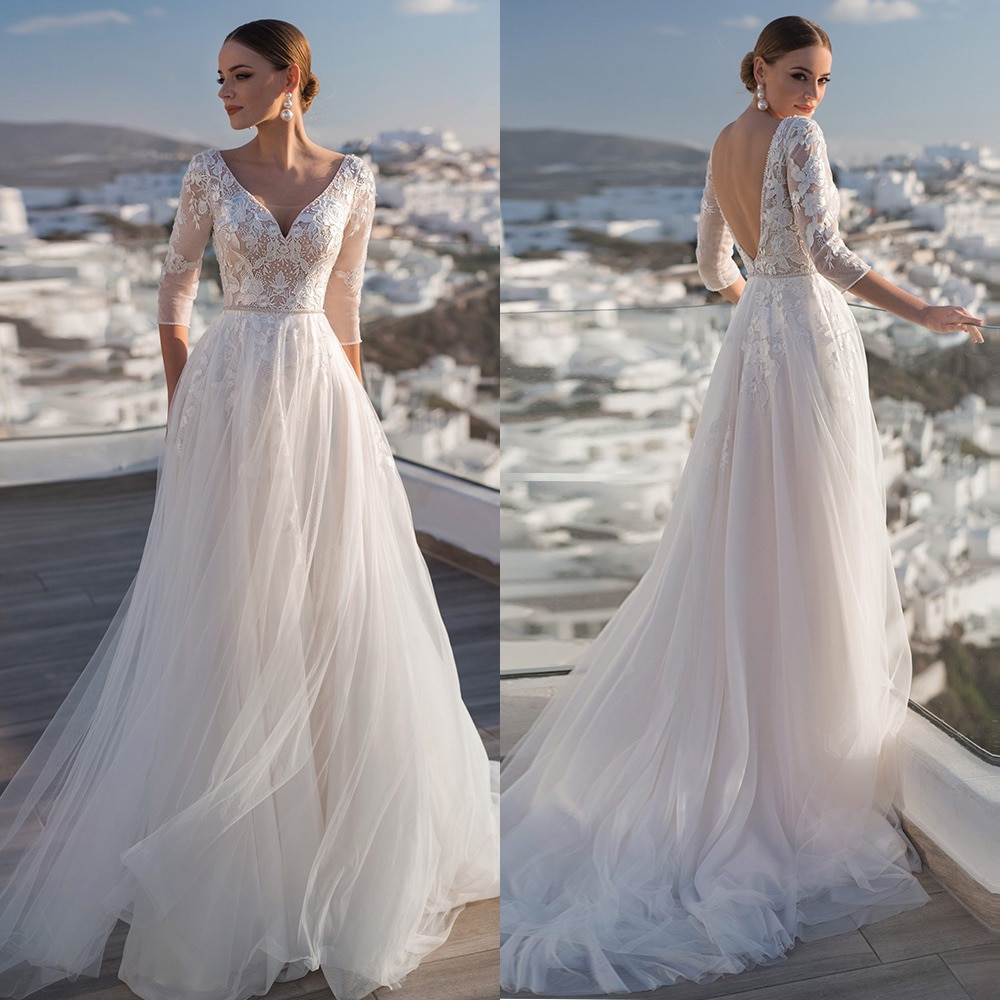 Tulle Sweep Train Backless A-line Wedding Dresses V-neck Sleeve Applique Bridal Gowns Beadding Vestido De Noiva Свадебное Платье