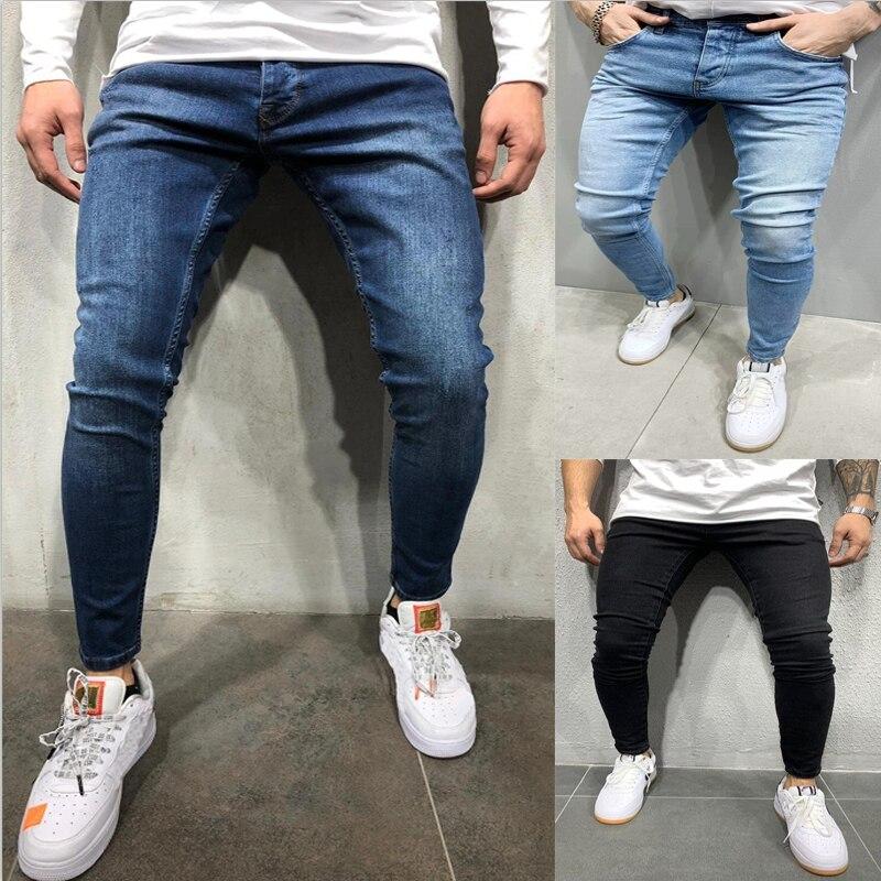 2021 Брендовые мужские джинсы, деловые повседневные эластичные удобные прямые джинсовые брюки, мужские Брендовые брюки высокого качества, му...