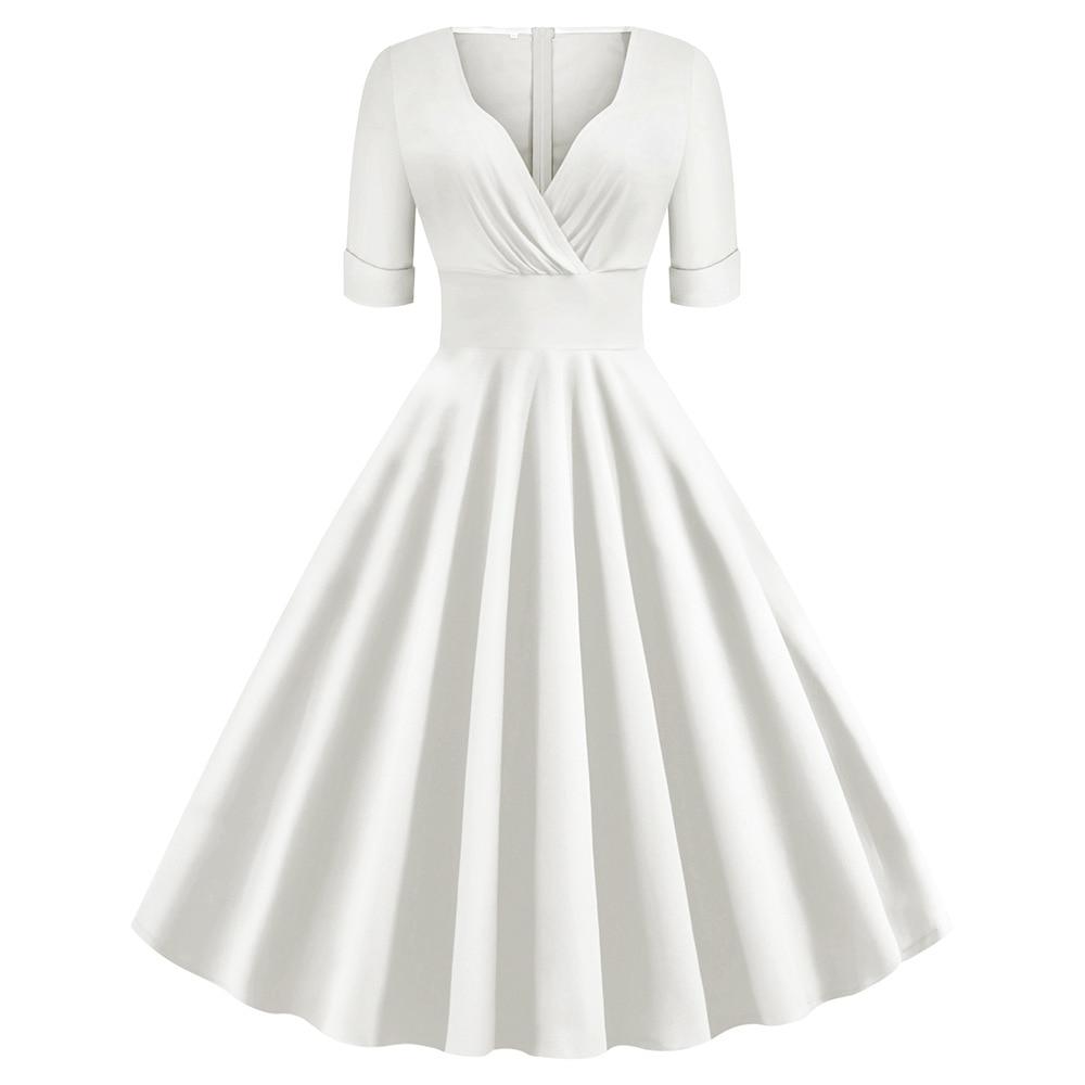 Vestido de Invierno para mujer, vestido blanco y rojo, Sexy de algodón de los años 50, vestidos Rockabilly, cuello en V, plisado, vestido Vintage para mujer de talla grande