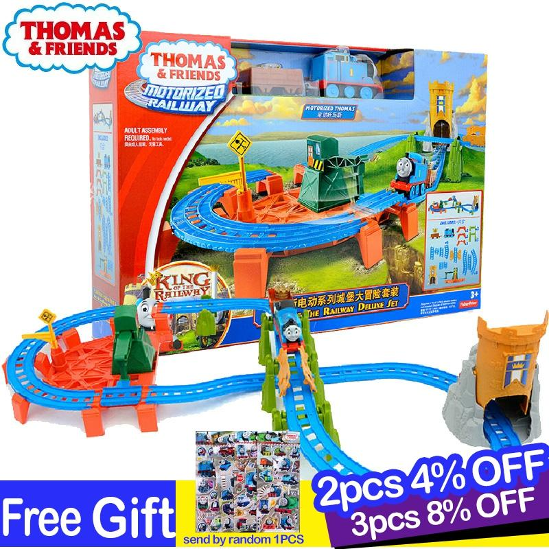 Original Thomas and Friends Castle Adventure Electric Train Track Set Motorized Railway Educational Car Toys for Boys Oyuncak