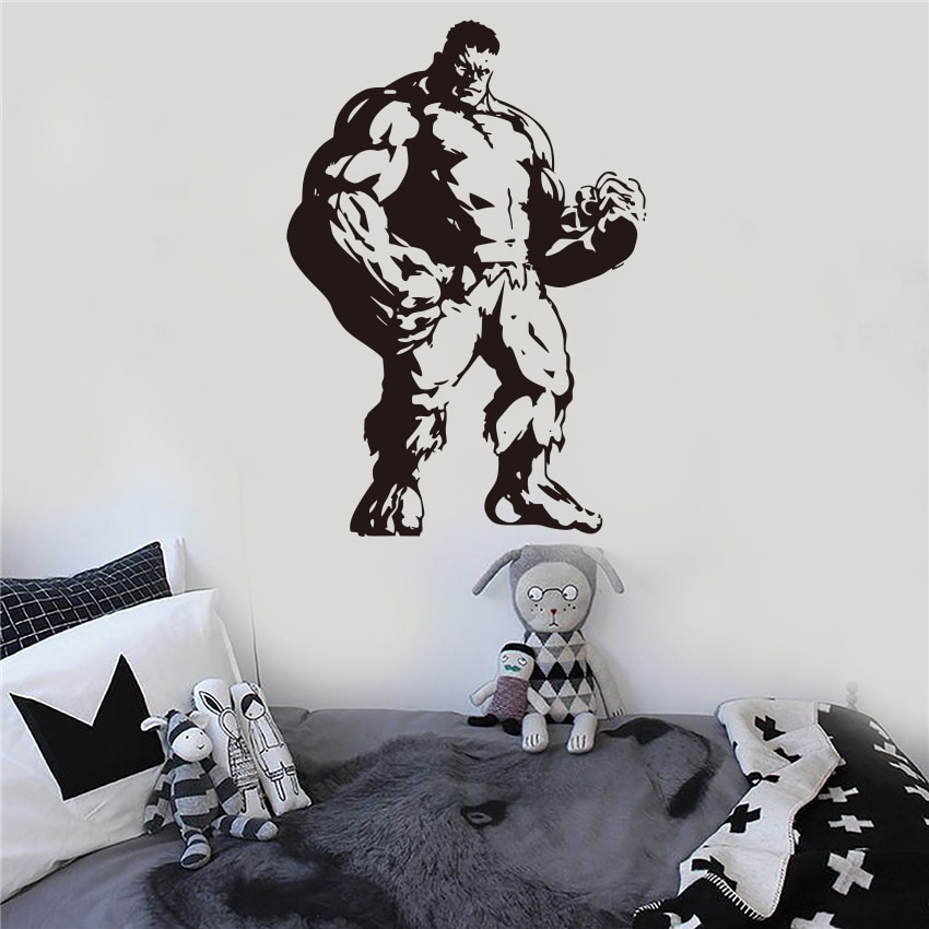 Marvel Hulk superhéroe Hulk familia pared cabecera adhesivo artístico de pared extraíble patrón decorativo de polietileno S22