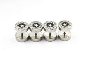 50pcs  Stainless Steel Body jewelry Ear Stud Fake Ear Plugs Cheat Tunnels Illussion Plugs Star Gems Free Shippment
