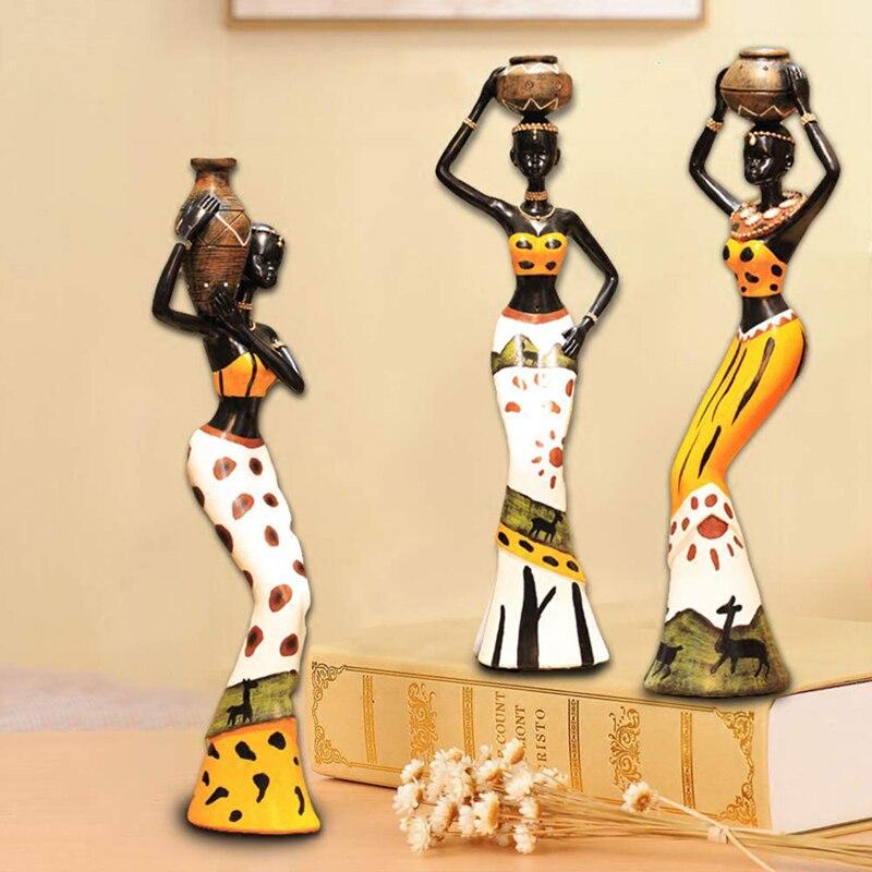 ERMAKOVA conjunto de 3 Africana figura femenina escultura de mujer Tribal figurita de dama mujer estatua hogar Oficina Decoración regalo