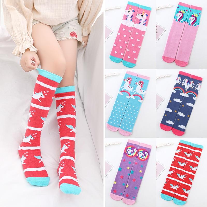Cute Cotton Cartoon Unicorn Printed Children's Girls Knee Highs Socks Long Stockings Cute Infantil Kids For Girls 3-12 Years