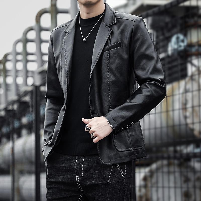 2021 Men Faux Leather Jacket Motorcycle 4XL Men's Jacket Black Outwear Male PU Leather Jacket Men Co