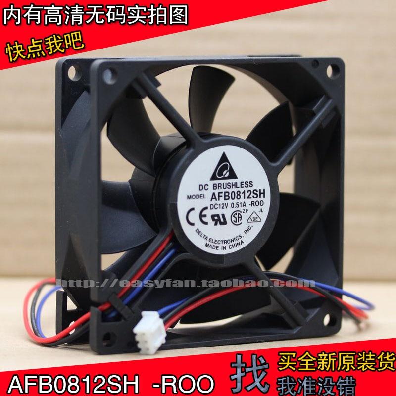 Ventilador de refrigeración 80x80x25mm con doble bola y volumen de aire supergrande, auténtico Delta AFB0812SH ROO 8025 12V 0.51A