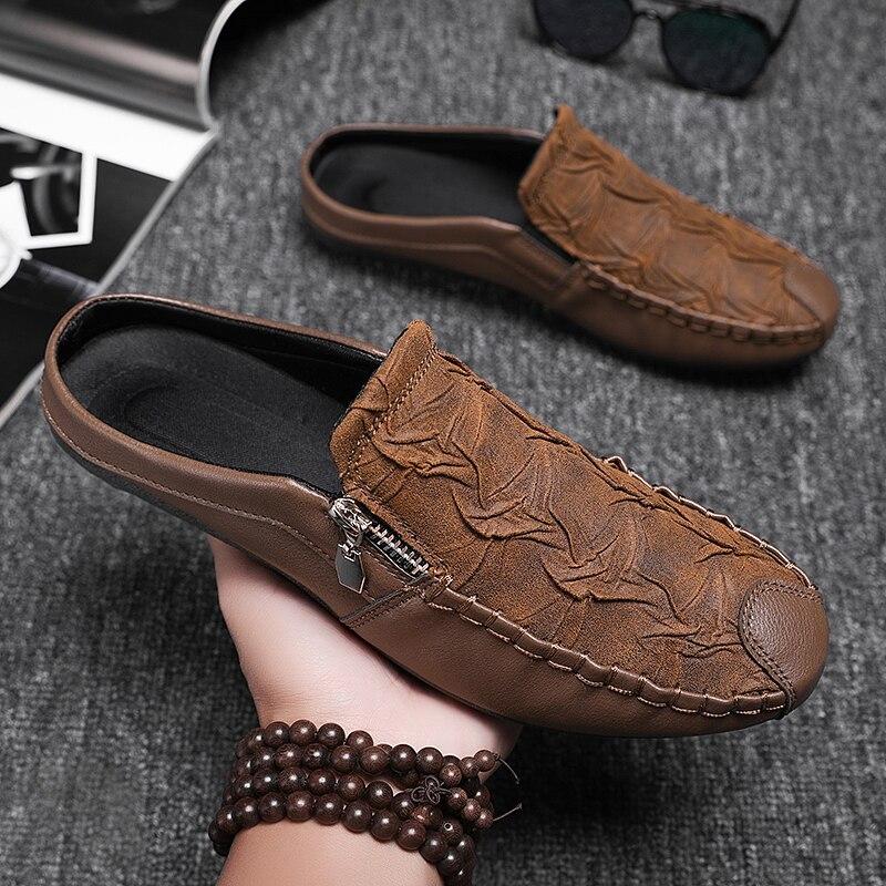 الرجال الصيف خفيفة الوزن تنفس الجلود عادية الانزلاق على المتسكعون الأحذية كسول المألوف دون كعب تصميم