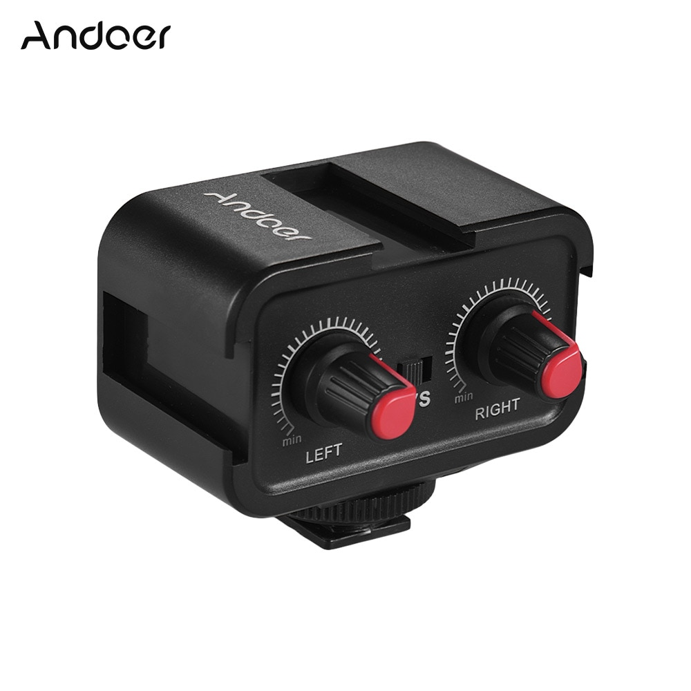 Andoer WS-VS micrófono de doble canal para cámara Audio adaptador del mezclador 3,5mm salida estéreo para Canon Nikon Sony DSLR videocámara