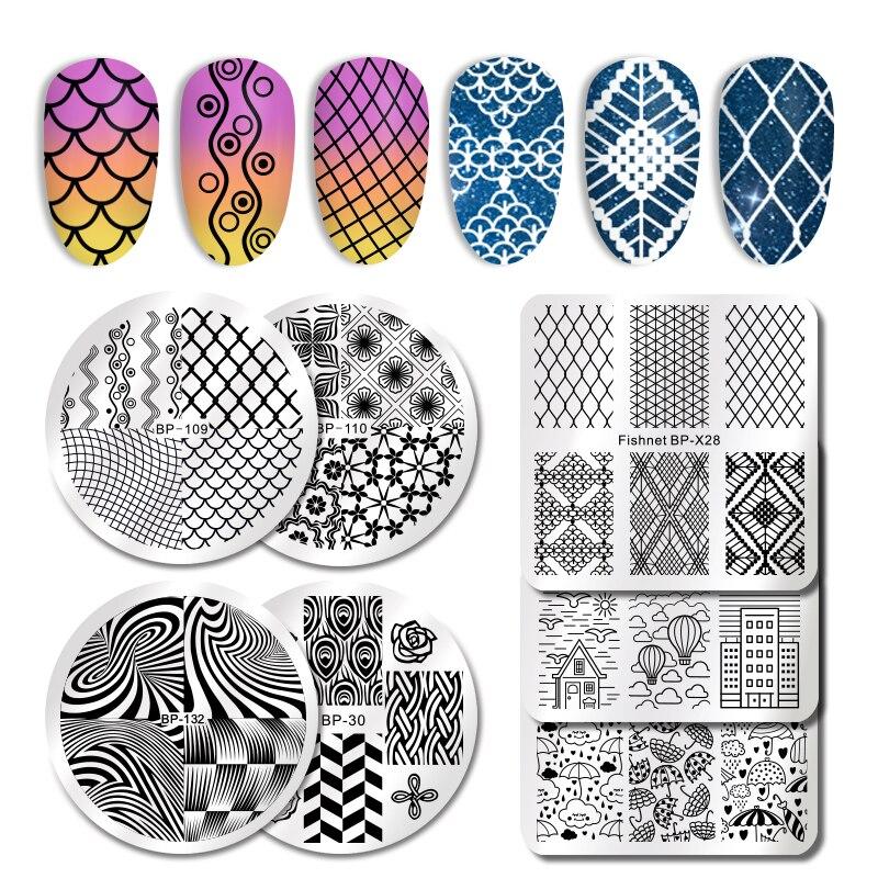 BORN PRETTY-полосатые пластины из нержавеющей стали пластины для штамповки ногтей, шаблоны для печати рисунков на ногтях, дизайн DIY