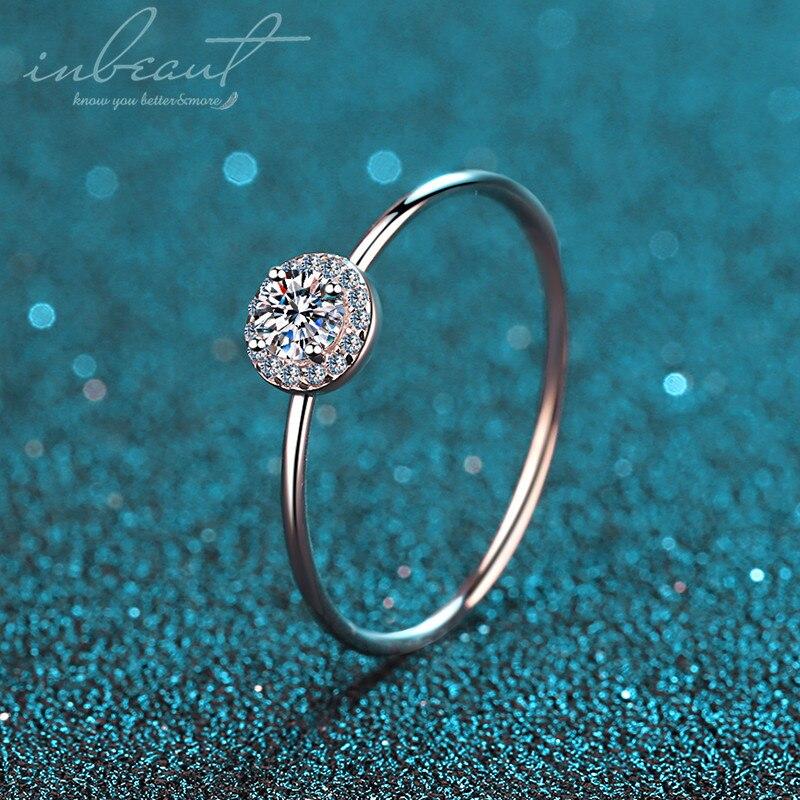 Inbeaut 925 prata esterlina 0.4 ct excelente corte moissanite anel passar teste de diamante d cor redonda princesa louro pedra anéis