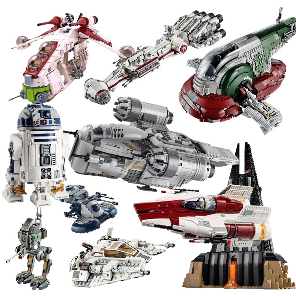 سلسلة جديدة من سلسلة حرب النجوم R2d2 مقاتلة على شكل جناح مقاتلة مندلوريان لبنات البناء ألعاب الأطفال لأعياد الميلاد هدية