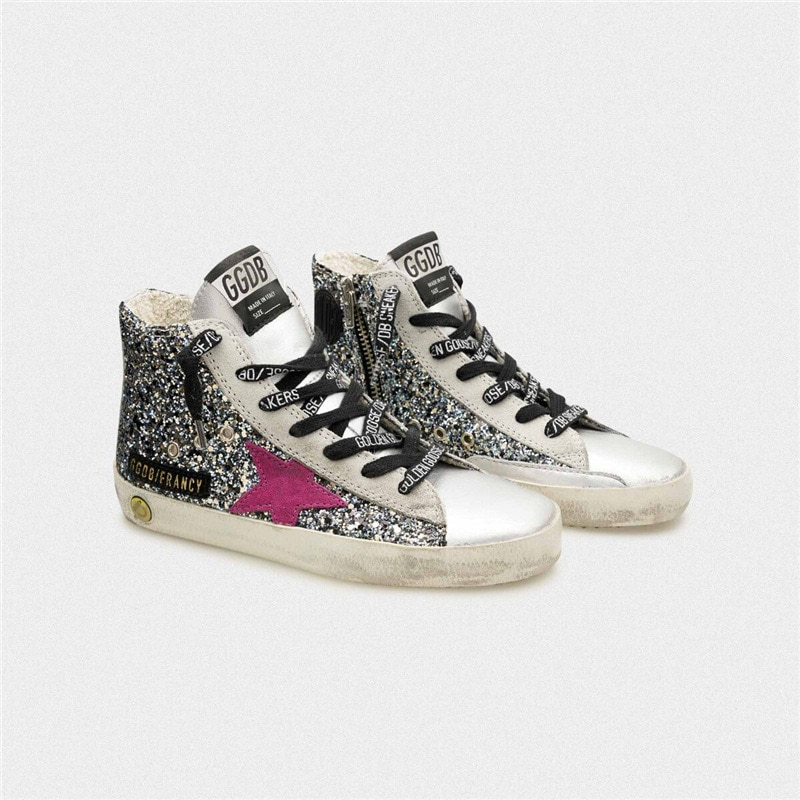 Spring and Summer Sequined Children's Old Small Dirty Shoes for Boys and Girls Casual Silver Patent Leather Kids Sneakers CS197 enlarge