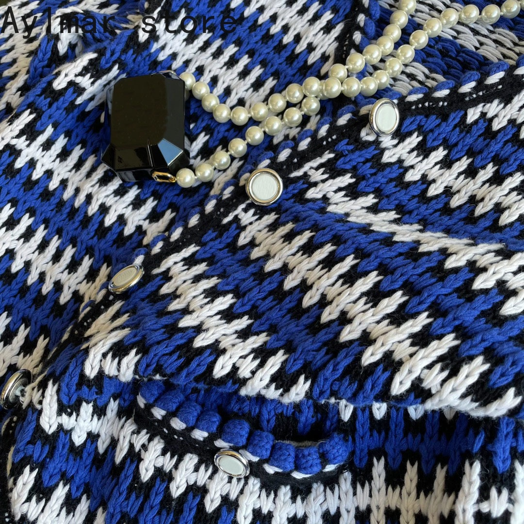 autumn winter high quality new blue and white contrast thick needle long sleeved cardigan fashion women's Lapel coat sweater enlarge
