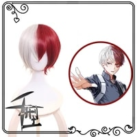 anime cosplay wig for my hero academia shoto todoroki cosplay wigs with free wig cap half silver white half red