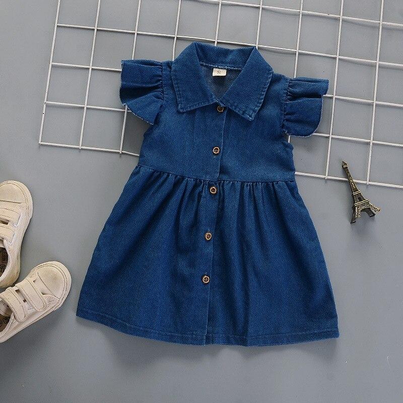IENENS niño niña vestido de pantalones vaqueros del Bebé Ropa Infantil de algodón de mezclilla suave viste a los niños sin mangas ropa ajuste 1-4 años