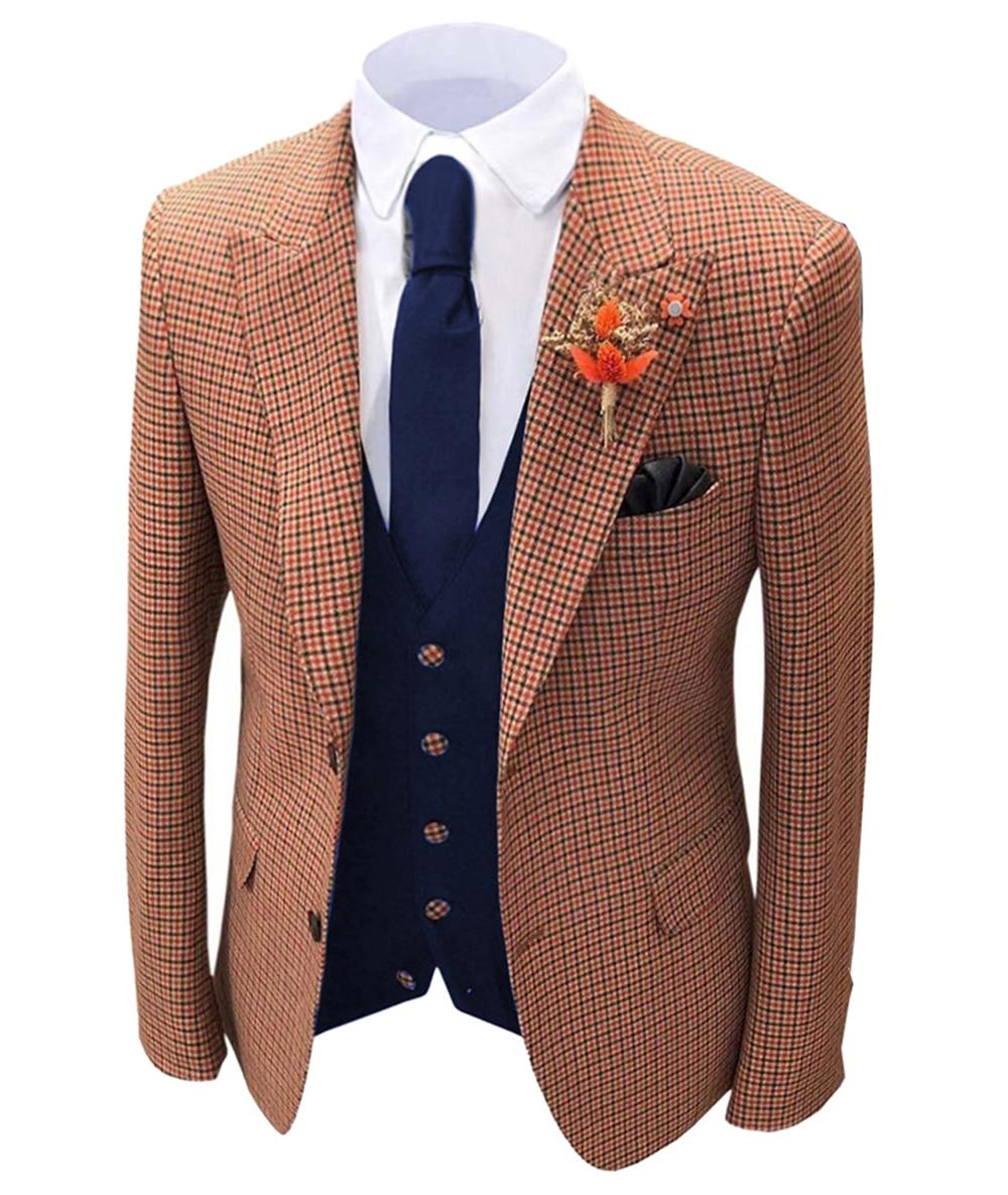 1 قطعة البرتقال الرجال منقوشة الصوف تويد السترة رفقاء العريس الشق طية صدر السترة الرجال سترة ل زفاف العريس صالح سليم سهرة