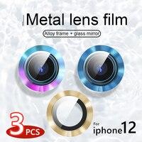 Для iPhone 12 Pro Max задняя металлическая камера Объектив Закаленное стекло пленка для iPhone 11 12 pro Чехол защитное кольцо защита экрана