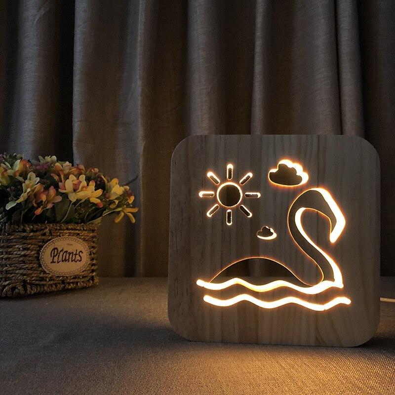 Artesanato de madeira criativo iluminação decoração noite luz led acessórios decoração para casa moderna