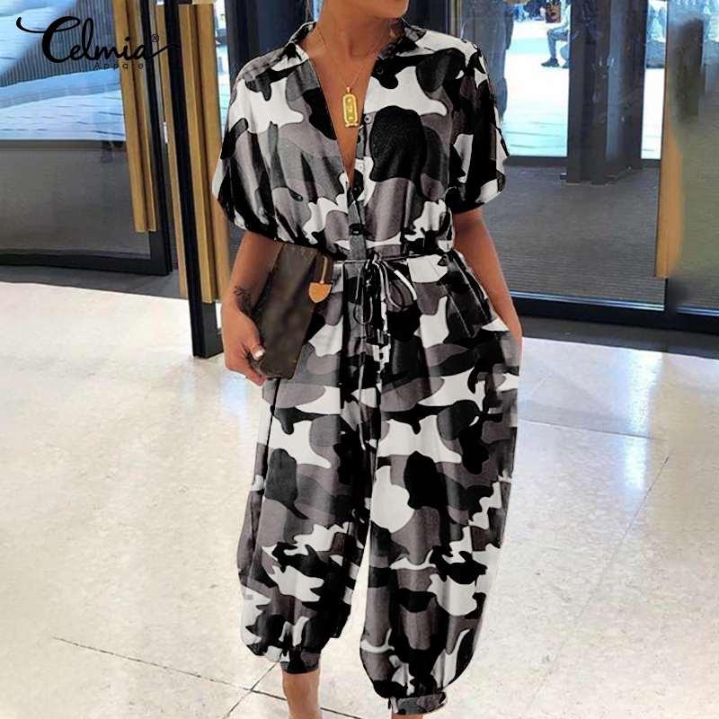 Plus size macacões celmia feminino vintage macacões 2020 verão manga curta camuflagem impressão macacão casual calças de carga com cinto