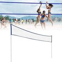 Filet de Volleyball portatif extérieur de filet de Badminton en gros réglable pliable avec le poteau de support pour des lieux de parc dherbe de plage ED889
