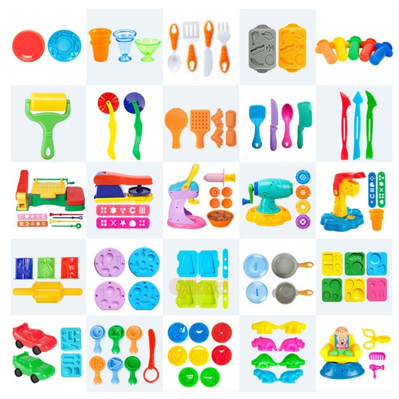 Kids DIY Slime Color Play Dough Model Animal Cake Fruit Tools Plasticine Set Clay Moulds Sets Educational Toys for children Gift