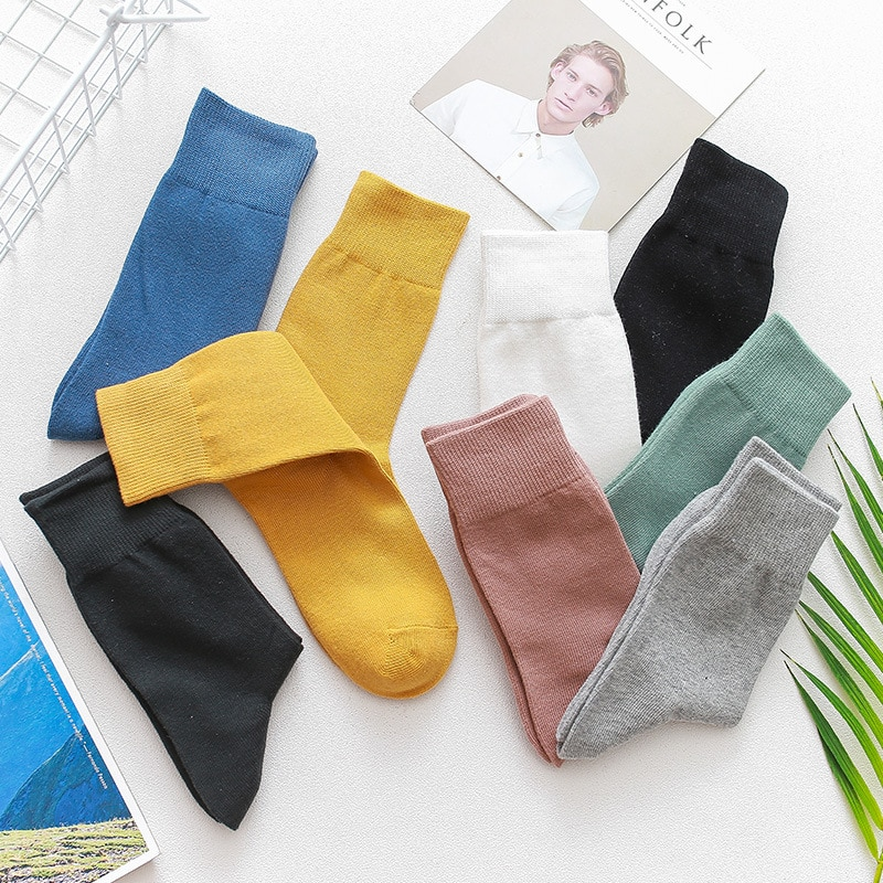 Яркие цветные мужские однотонные чулки модные трендовые мужские носки осень-зима новые повседневные хлопковые носки 2020 мужские модные