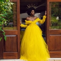 african garden yellow tulle bridal women dresses see thru full sleeves a line long wedding party dress backless long robe