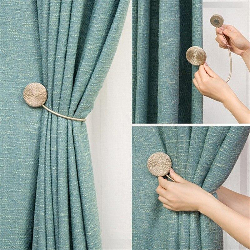 Imanes para soporte de cortina, accesorios para cortinas, estilo europeo, imán redondo trenzado