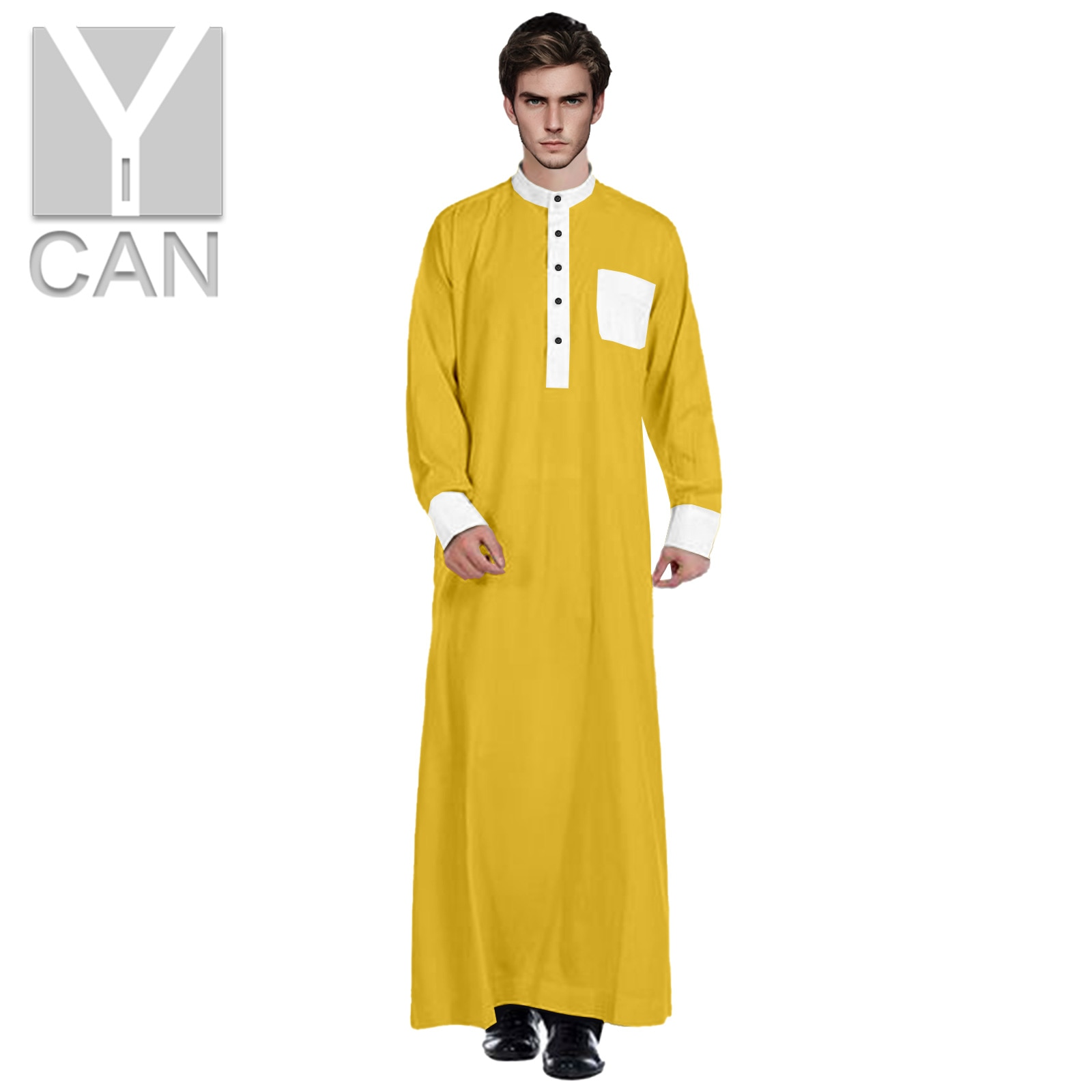 Y-CAN Pakistan Free Muslim Fashion for Men Jubba Thobe With Stand Up Collar Contrast Islamic Arabic Clothing Muslim Robe Y211003