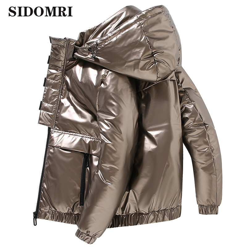 Winter down jacket hooded fashion Glossy color brand clothing thick warm loose Men's Down Coat Casual High Quality