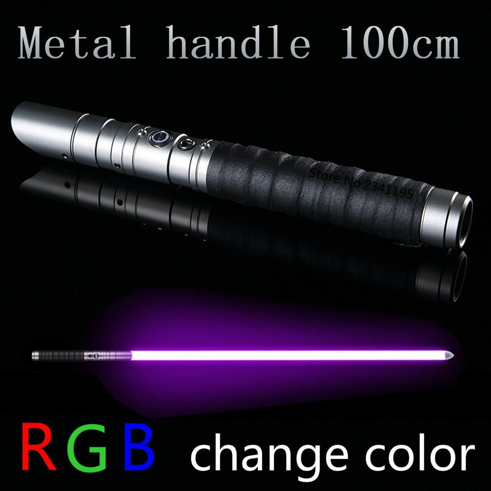 RGB Star Lightsaber Jedi Sith Luke Light Saber Force FX Heavy Dueling Stick FOC Lock Up Metal Handle Sword Change Color Gift