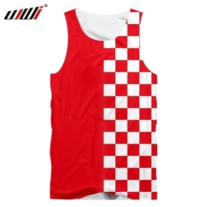 UJWI New Brand Red Black Men's Clothing 3D Printing O-ring Sleeveless Vest Checkerboard Clothes Fashion Tank Tops Casual 5XL