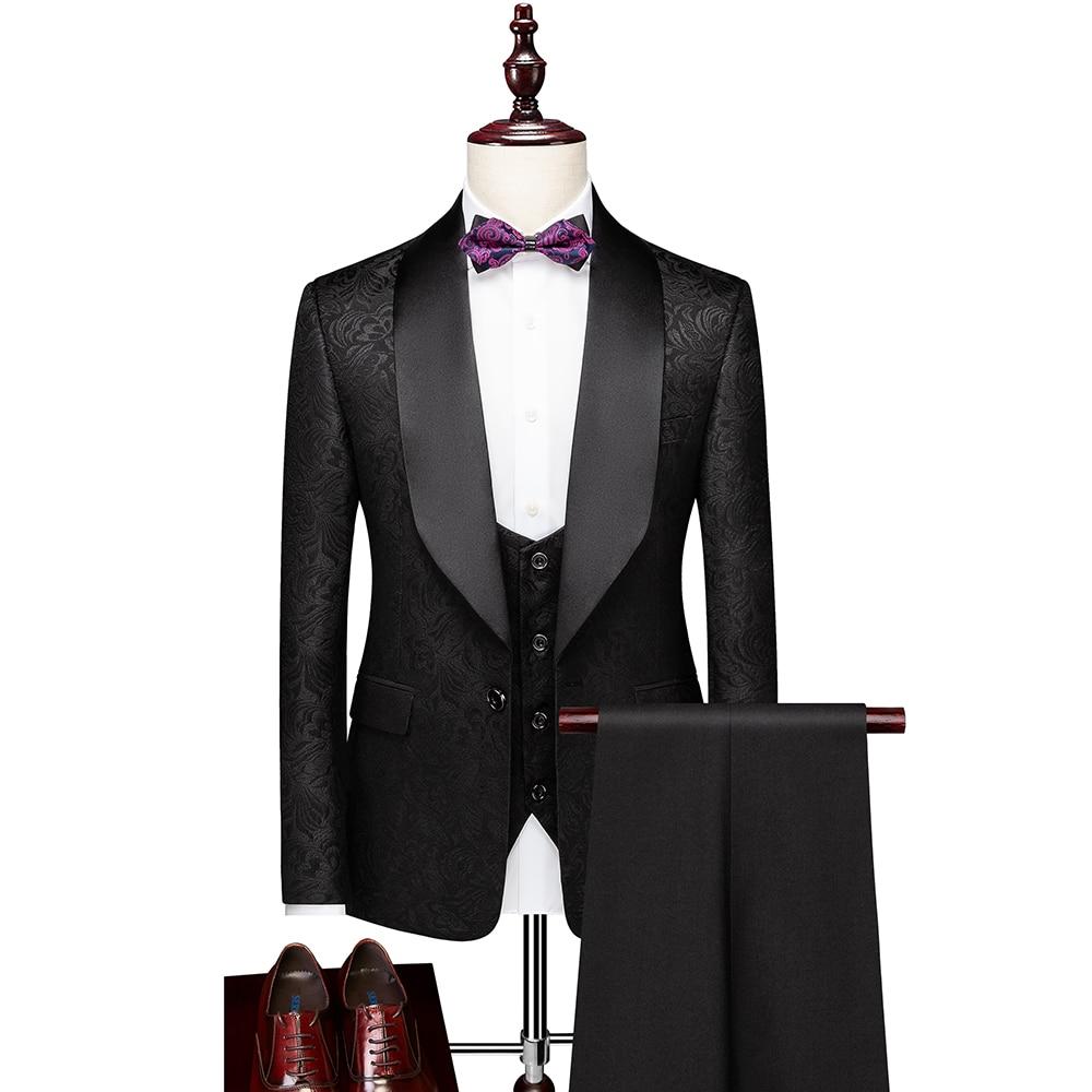 Высококачественные мужские костюмы, одежда для жениха, смокинги, изготовленные на заказ свадебные костюмы из 3 предметов, приталенный мужск...
