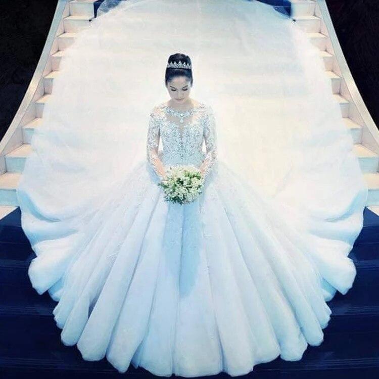 فستان زفاف بأكمام طويلة مطرز بالخرز ، ثوب كرة ، تصميم أميرة مخصص ، مجموعة جديدة 2021