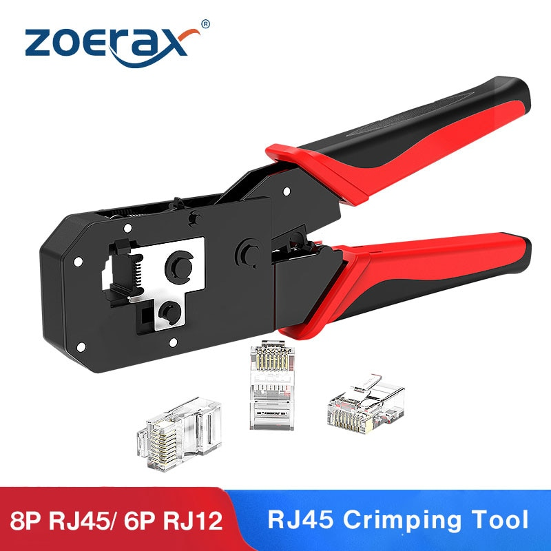 ZoeRax RJ45 Crimping Tool, All-in-one Ethernet Network LAN Cable Stripper Cutter Crimper Tool for 8P/RJ-45 & 6P/RJ-12, RJ-11
