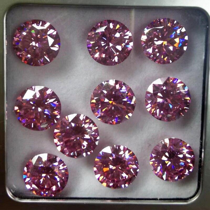 يتوهم الوردي اللون D vvs مويزانايت مفكوك 5.0 مللي متر 6.5 مللي متر 8.0 مللي متر 9.0 مللي متر جولة بريليانت قص جرا Moissanites الماس حجر ل خواتم